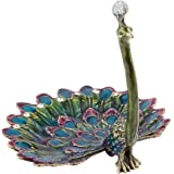 Peacock Enameled Pewter Ring Holder Dish /Jewelry Holder Hand Craft Jewelry Holder Organizer New Design Vintage Trinket Box( with Crystal )