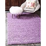 unique loom solid shag collection lilac 5 x 8 area rug 5u0027 x 8u0027