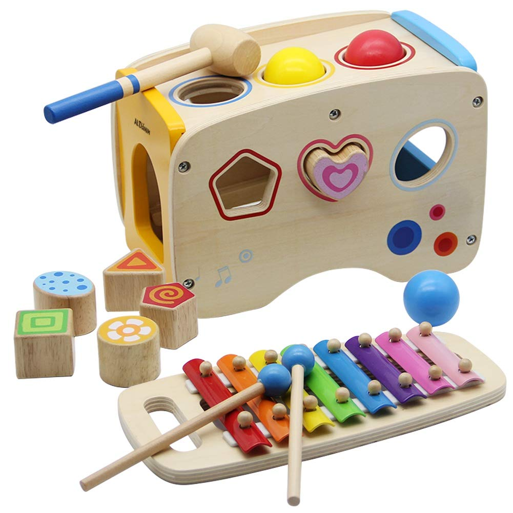 941b32261f5af ATDAWN Wooden Shape Sorter Bus with Slide Out Xylophone, Wooden Musical  Pounding Toy, Baby Color Recognition and Geometry Learning, Multifunctional  ...