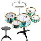 MagiDeal Mini Jazz Band Drum Kits Percussion Instruments Set Children Educational Musical Toy - 5 Drums + Stool Green
