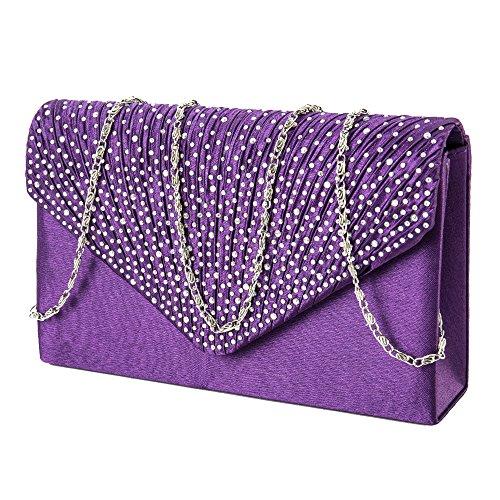 Women Clutch Bag Diamante Envelope Handbag Evening Shoulder Bags for Party Purple