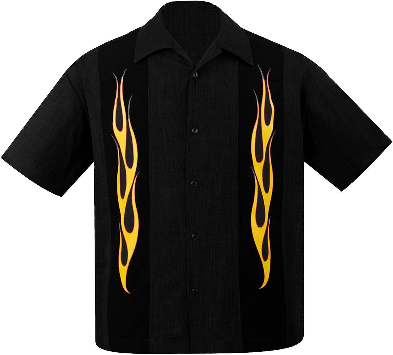 STEADY CLOTHING Mens Flame N Hot Button Up Bowling Shirt Black