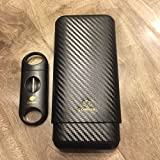Carbon Fiber 3 Ct Wooden Cigar Case Travel Humidor w/Free V Blade Cutter