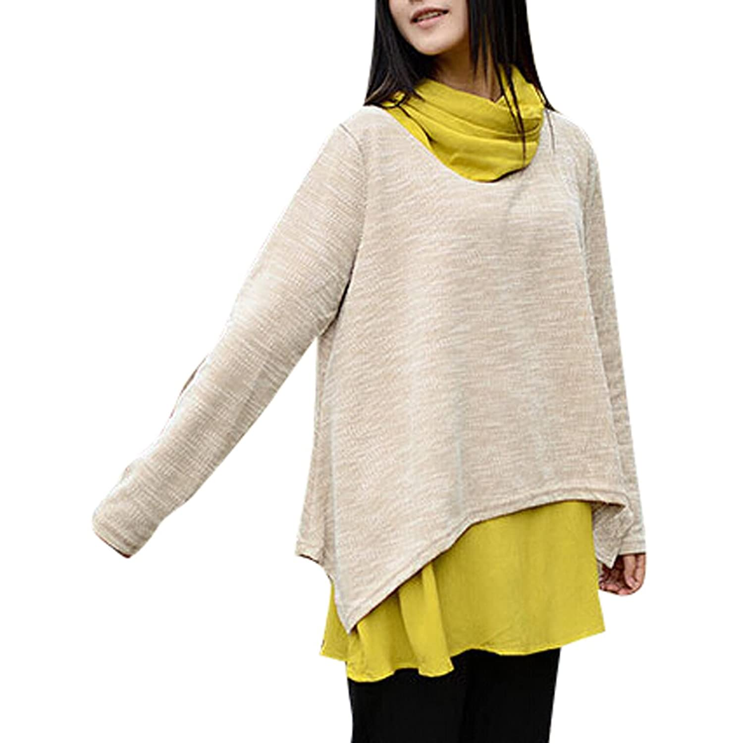 Artcar Women's Casual False Two-piece Mock Neck Matching Pullover Top Blouse