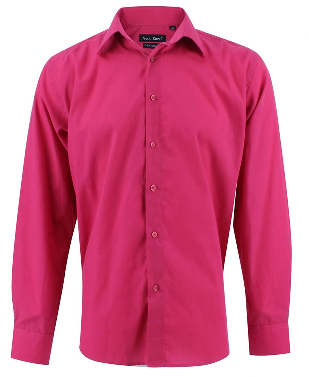Enzo Camisa Hombre Cl/ásico Regular Fit Color S/ólido con Mangas Largas de S a XXL