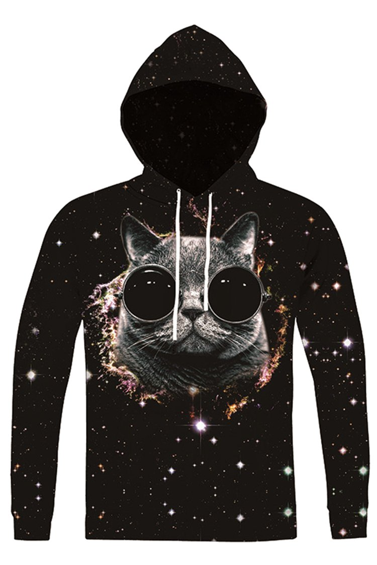 Cutiefox Womens Plus Size Glasses Cat Print Pullover Hoodie Sweatshirt Black XXL