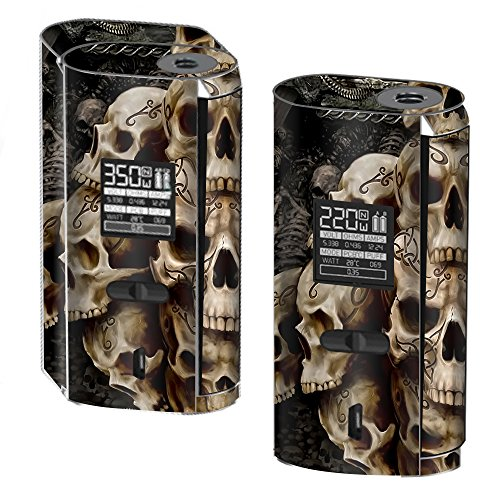 (Skin Decal Vinyl Wrap for Smok GX2/4 350W TC Vape Skins Stickers Cover / Wicked Skulls Tattooed)