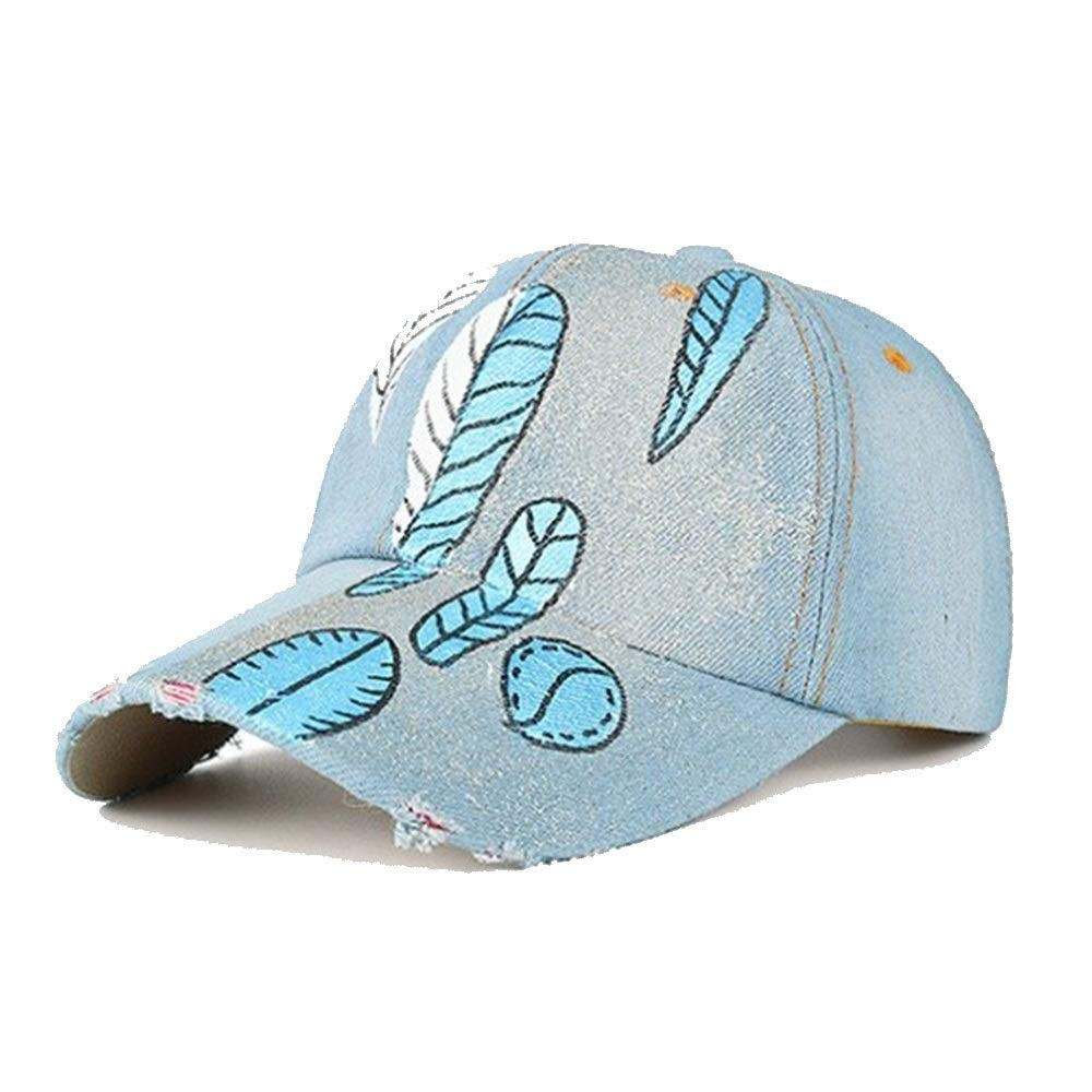 Color : 3, Size : 54-62cm TongLingUSL Male and Female Spring and Summer New Denim Hand-Painted Leaves Duck Tongue Sun Outdoor Baseball Cap