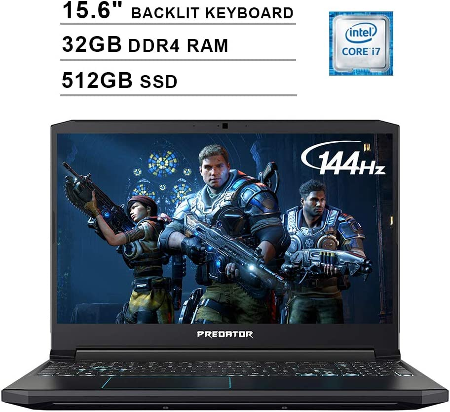 Acer 2020 Predator Helios 300 15.6 Inch FHD Gaming Laptop (9th Gen Intel 6-Core i7-9750H up to 4.5 GHz, 32GB RAM, 512GB PCIe SSD, Backlit Keyboard, NVIDIA GeForce GTX 1660 Ti, WiFi, Bluetooth, Win 10)