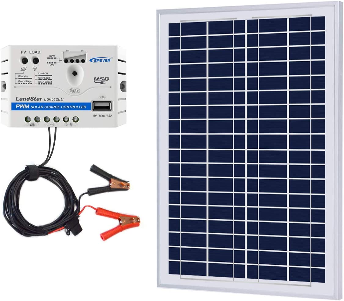 ACOPOWER 25W 12V Solar Charger Kit, 25 Watts Polycrystalline Solar Panel 5A Charge Controller for RV, Boats, Camping w USB 5V Output as Phone Charger