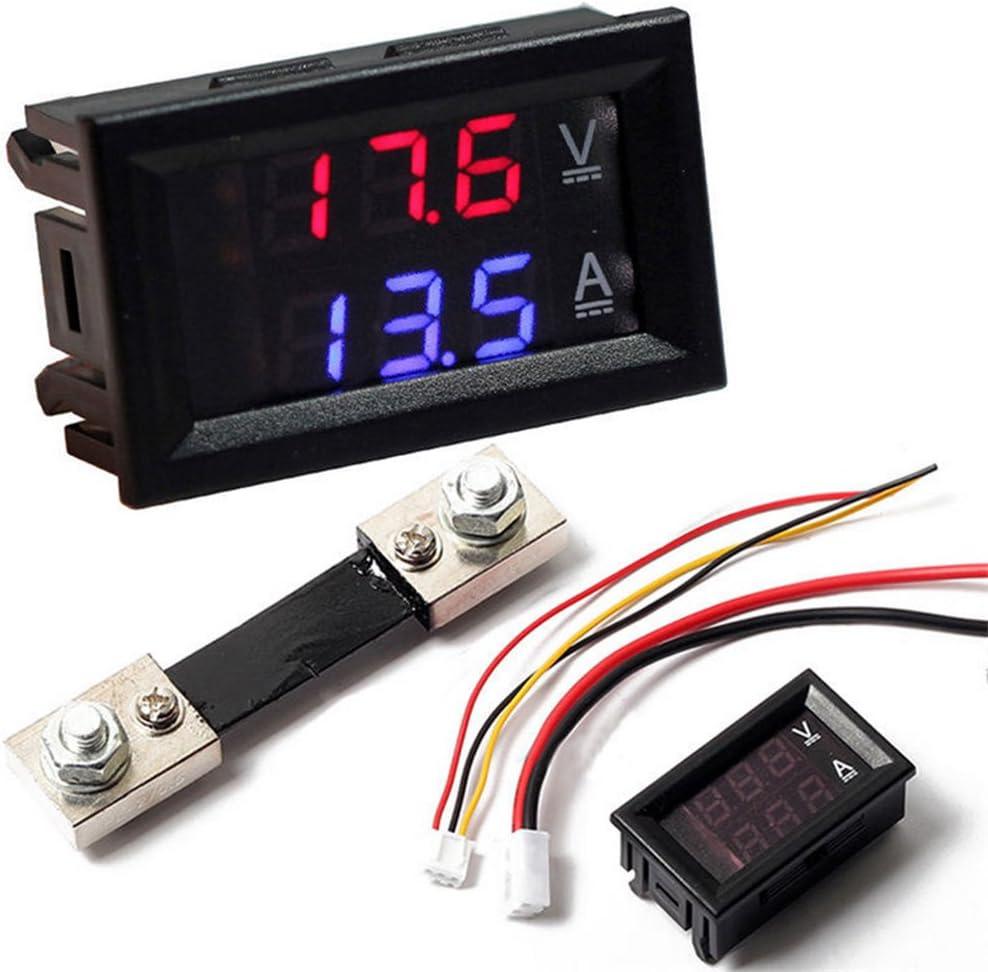 DC 100V 10A 50A 100A Voltmeter Ammeter LED Dual Digital Volt Amp Meter Gauge 50A Voltmeter /& Ammeter w// 50A Current Shunt