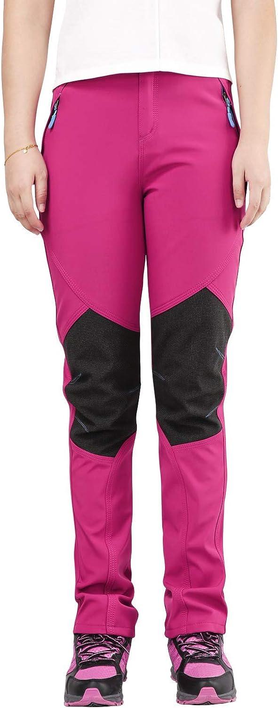 UPON HIKING Kids Outdoor Soft Shell Waterproof Fleece Pants