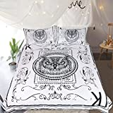 Sleepwish Playing Cards Bedding The king of Poker 3 Piece Owl Bedding Retro Black and White Duvet Cover (Full)