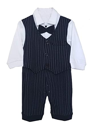 7bb44debd Ragazzo 1st Birthday Baby Boy dress Cotton Black White Combo Bow Tuxedo Suit  Romper Formal Style Full Sleeve 1-2 Year: Amazon.in: Clothing & Accessories