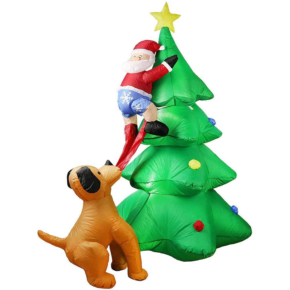 AFexm Disfraz Hinchable Papá Noel y Perro Travieso Decoración de ...