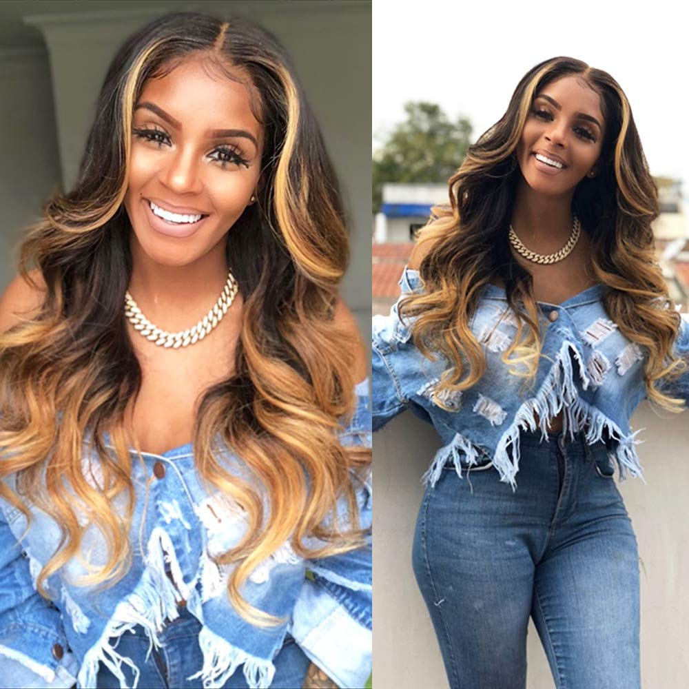 Wave Human Hair Lace Front Wigs Ombre Wig 3 Tones Color 1B/4/27 Natural Hair Wigs for Black Women Human Hair Pre Plucked Lace Front Wigs Human Hair with Baby Hair (20 Inch Middle Part) by JYZ