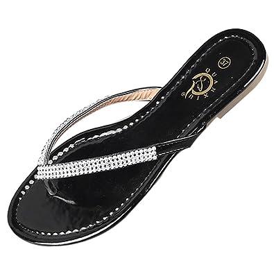 LvRao Damen Zehentrenner Sommer Sandalen Flache Peep-Toe Flip Flop Strand Schuhe Schwarz #1 39 hDjexGd5yg