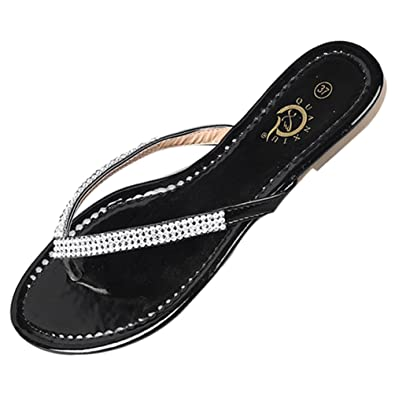 LvRao Damen Zehentrenner Sommer Sandalen Flache Peep Toe Flip Flop Strand Schuhe