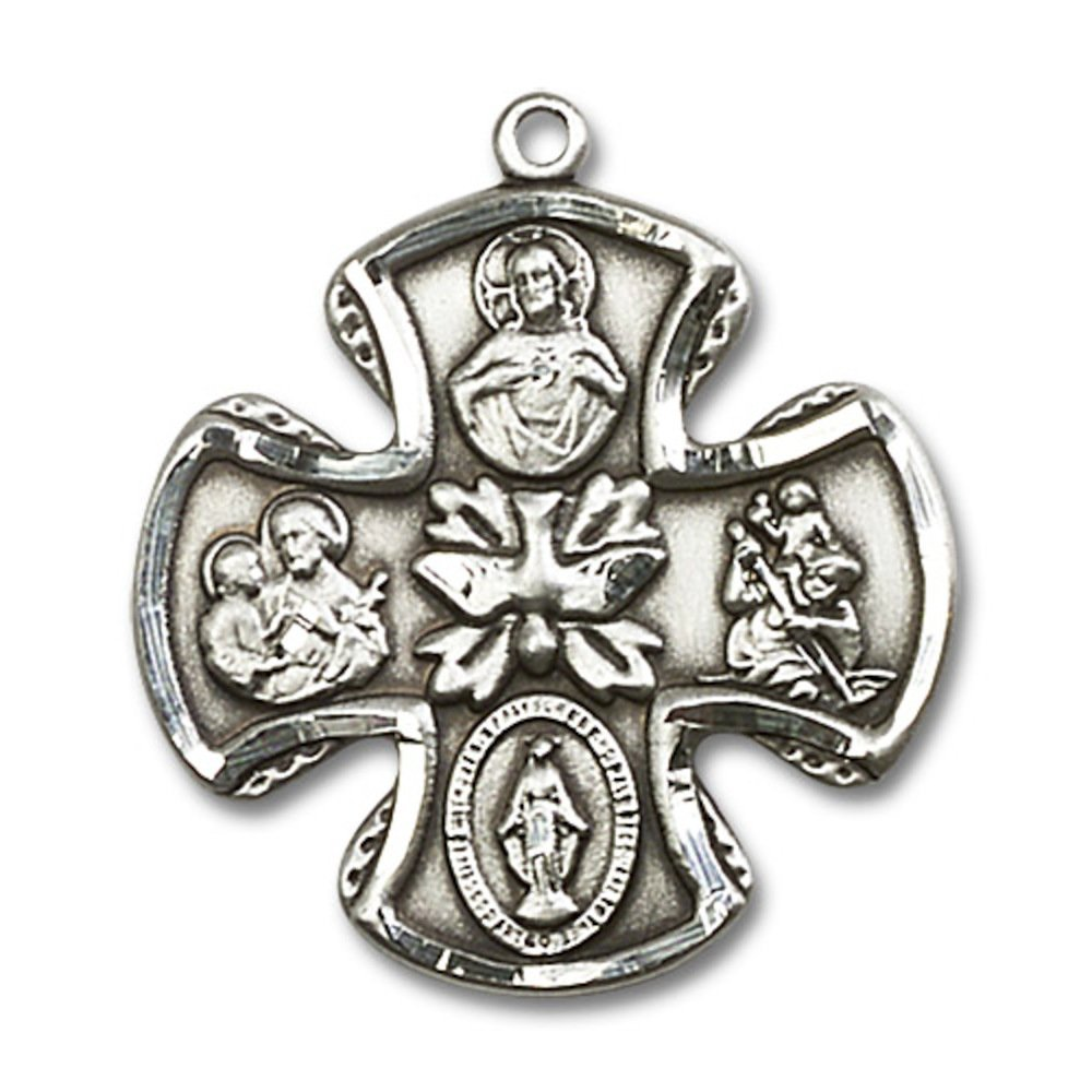 Sterling Silver 5-Way Pendant 1 1//8 x 1 1//8 inches with Heavy Curb Chain