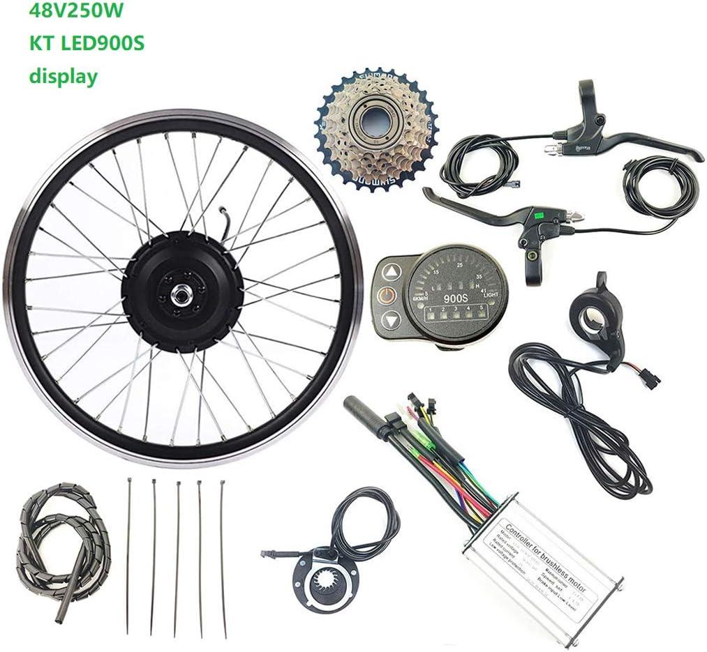LiRongPing Eléctricos de la conversión de Bicicletas Juego de Ruedas Cassette Trasero del Motor del Cubo del Motor 24V 250W con LED900s Exhibidores 16-28 Pulgadas 700 E-Bici Kit,20inch LED Sets