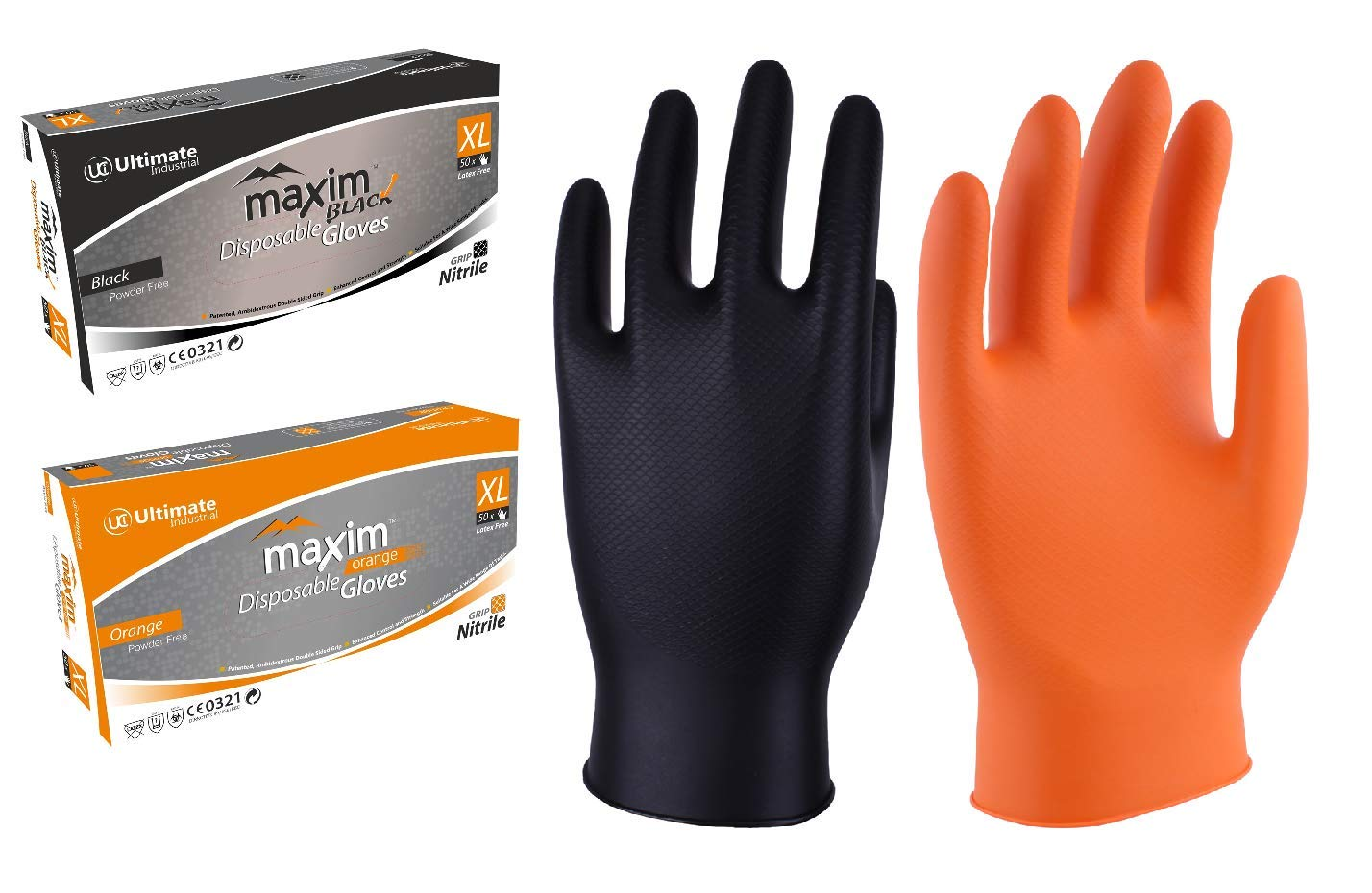 UCI 4 mil 100 x Black Nitrile Powder Free Disposable Gloves