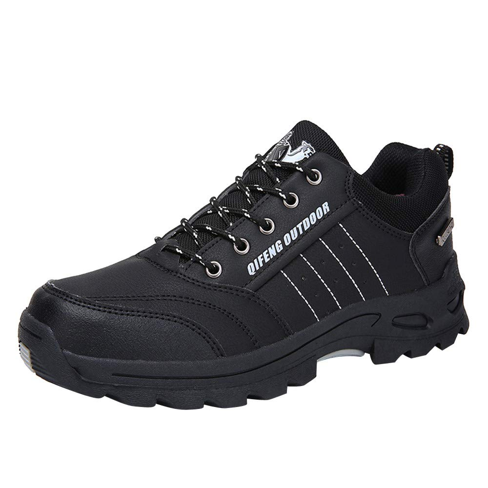 Sherostore ♡ Men's Hiking Shoes Breathable Leather Hiking Boot Walking Shoes for Outdoor Trekking Casual Work Running Shoe Black