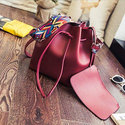 Aoligei Seau de cuir PU réel avec sac féminin oblique simple E