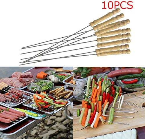10pcs/lot BBQ Tools Stainless Steel Skewers Barbecue Roasting Needle Skewer Wooden handle Roasting Fork BBQ Brochett Tong Kebabe by ASTrade