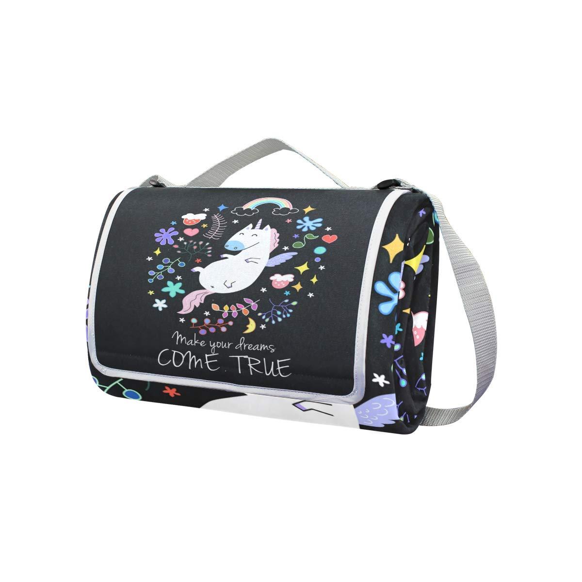 jeansame - Manta de Picnic con diseño de Unicornio y y Unicornio Texto en inglés Dream Comes True Picnic (150 x 145 cm) 35df87