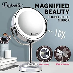 Magnifying Mirror, Embellir 10x Double Side Makeup Mirror with LED Lighted