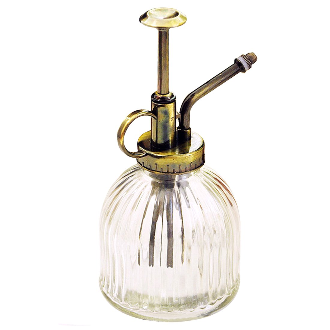 Leagway Glass Watering Spray Bottle, Vintage Style Spritzer With Bronze Plastic Top Pump One Hand Watering Can Spary Bottle, Decorative Plant Atomizer Mister for Indoor Potted Plants Flowers (Clear)
