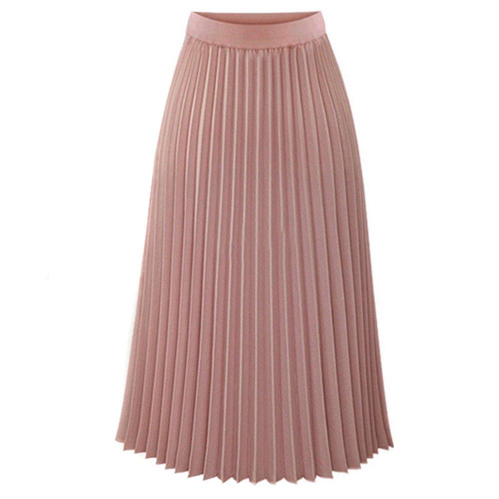 NREALY Skirt Womens Solid Pleated Elegant Midi Elastic Waist Maxi Skirt(M, Pink)