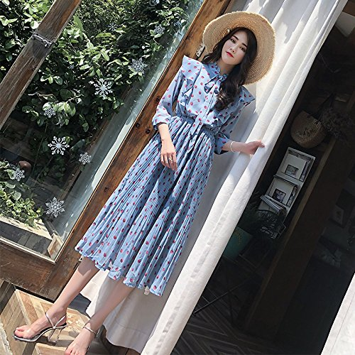 vestido Corta Volantes Largo falda Con Encaje De Gasa falda vestido de Plisada Manga Blue Xuanytp Vestido pwC1fq