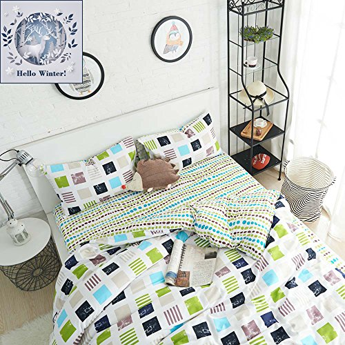 BuLuTu Colorful Grid Dots Print Kids Bedding Cover Sets Twin Cotton Premium Comforter Cover Set For Boys Girls (1 Bedding Cover and 2 Pillowcases) Dot Cotton Quilt