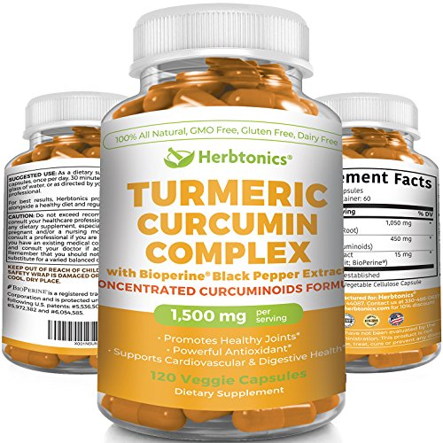 Turmeric Curcumin with BioPerine 1500mg l 95 Curcuminoids 450mg 15X MORE POTENT 120 CAPSULES Turmeric Complex C3 l Joint Pain Anti-Inflammatory Turmeric Tumeric Curcumin Capsules with black pepper