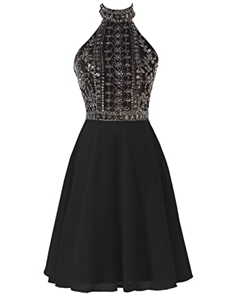 359fffb38f8 SOLOVEDRESS Women s Sexy Backless Chiffon Halter Short Beaded Prom Dress  2017 Evening Gown (Black