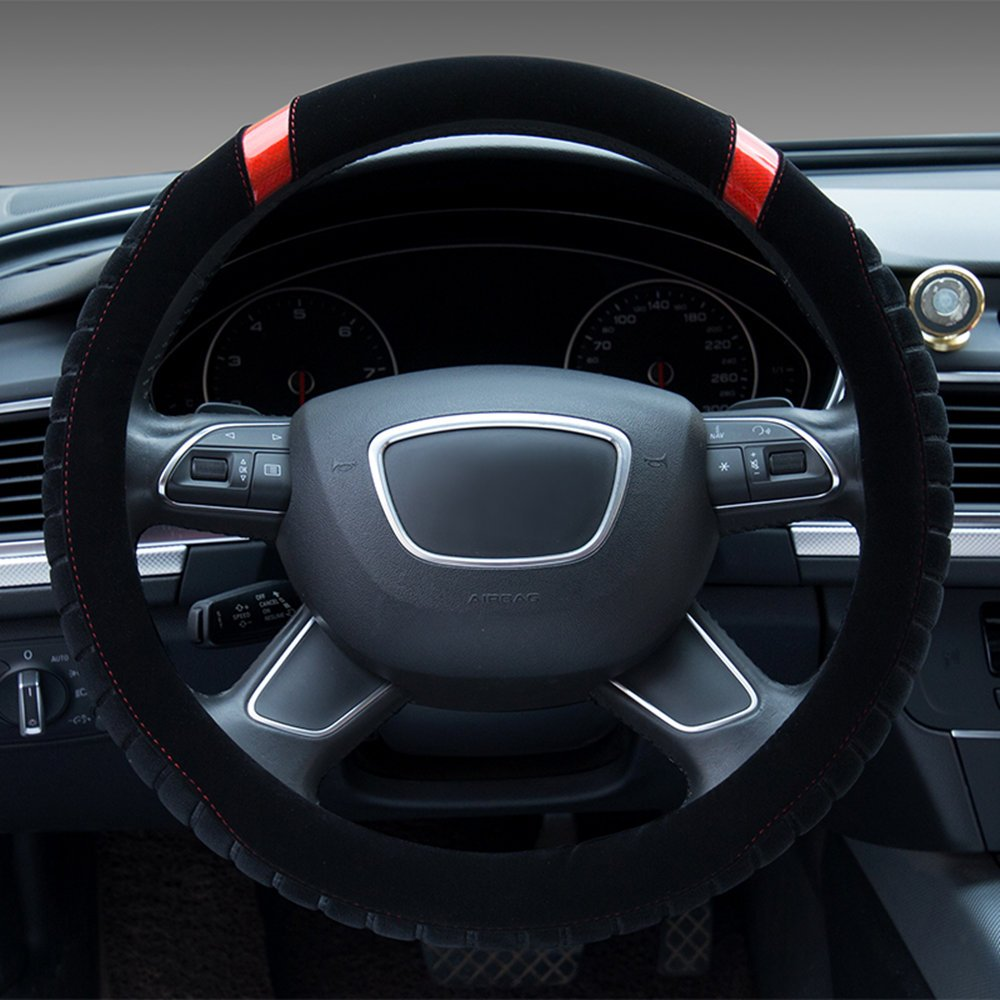 Dee-Type Beige Universal Plush Steering Wheel Cover 38cm (15 Inch) Other Color Inside