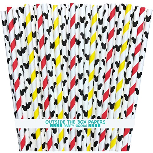 (Mickey Mouse Inspired Paper Straws - Mouse Ears Stripe - Red Black Yellow White - 100 Pack - Outside the Box Papers Brand)