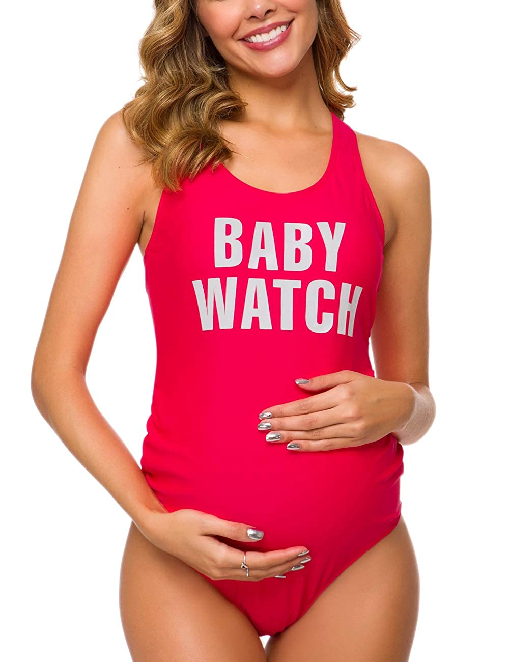 Ziola Women One Piece Letters Printed Maternity Swimsuit Backless Tankini Suns Out Bumps Out Monokini