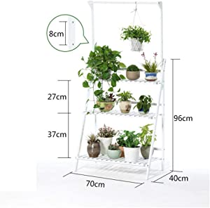 GUOXY Flower Stand 3 Tier Flower Pots Hanging Rack Outdoor Garden Shelves Plant Display Stand Plant Ladder Bamboo Plant Stand for Indoor Outdoor Garden Balcony,70X40X96Cm