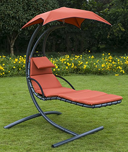 Amazon Com Merax Hanging Chaise Lounger Patio Chair Swing Hammock