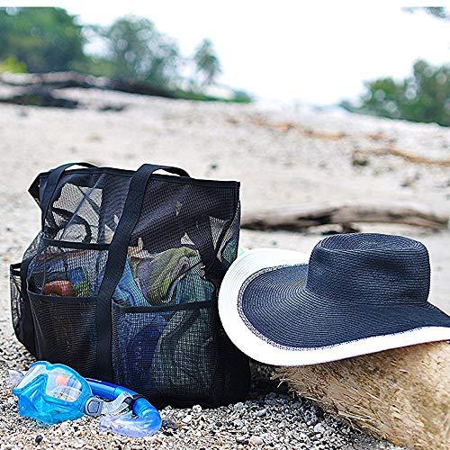 Voyage à Organiseur pour Jouets Beach Plage Tout Enfant Bag en Vêtements Vacances de Famille Sac Fourre Tote Main L'été Douche Filet Pliant Sac Mesh Poches Rangement en Maille Noir Sac aYq18xwg