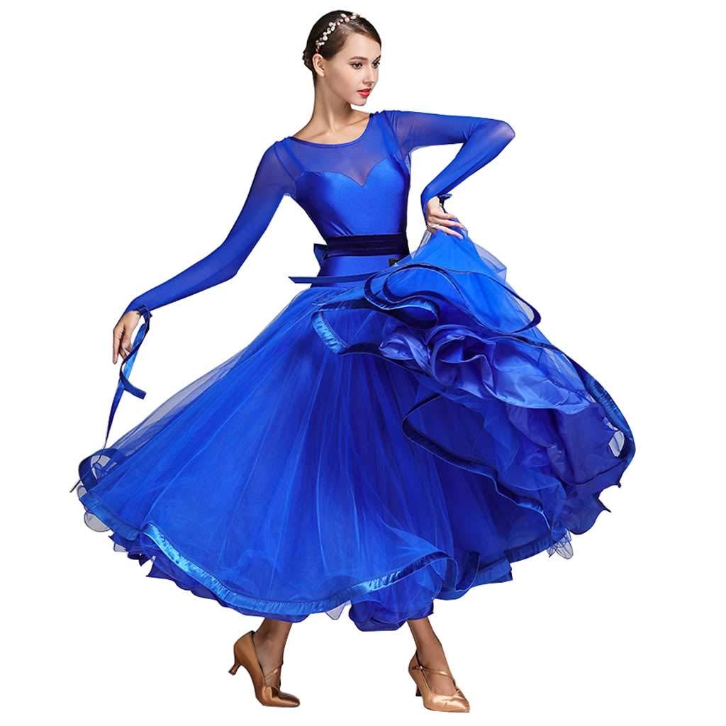 レディースモダンダンスドレス、アダルトコスチューム、パフォーマンス B07HMQ2SBR S s|Royal Blue Royal Blue S s