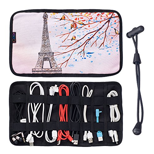 iColor Eiffel Universal Electronics Accessories Bag Organizer Travel Gadgets Carrying Case Pouch for USB Cables,Pens, Makeup Brush, Earphone, USB Flash Drive and More (CAB-12)