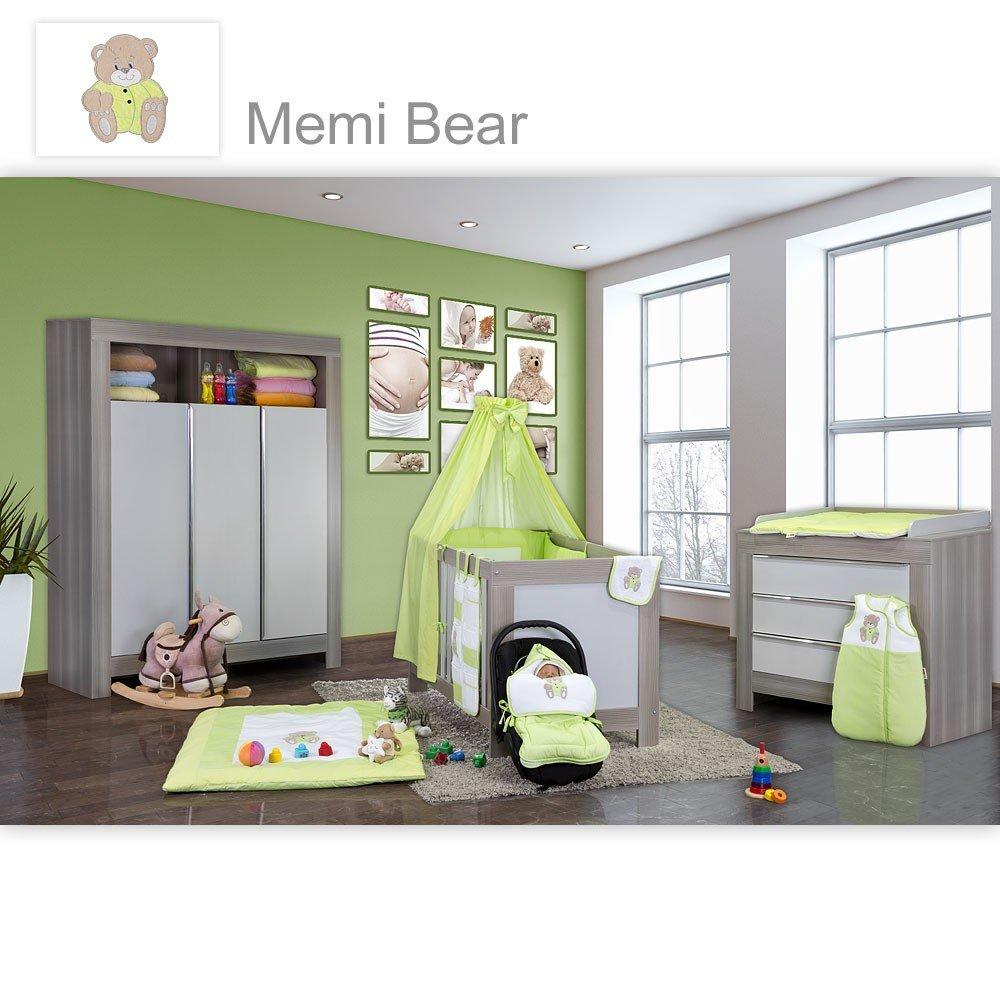 Babyzimmer Felix in akaziengrau 10 tlg. mit 3 türigem Kl. + Set Memi Bear Grün