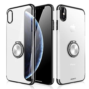 XUNDD Funda para iPhone XR,Carcasa de Cristal con Soporte magnético de 360 Grados, función Atril, Soporte para Coche con imán para iPhone XR,Negro