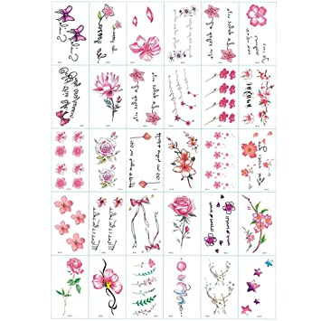 Amazoncom 30 Sheets Cute Small Flower Temporary Tattoos By