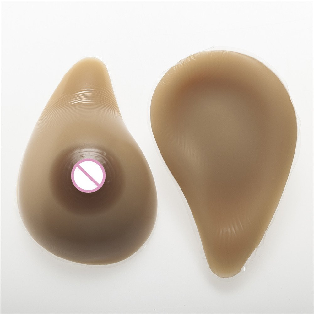 ZHS Brown Fake Boobs 800g/Pair Realistic Silicone Breasts Forms For Drag Queen Crossdresser Artificial Breast Transgender Shemale
