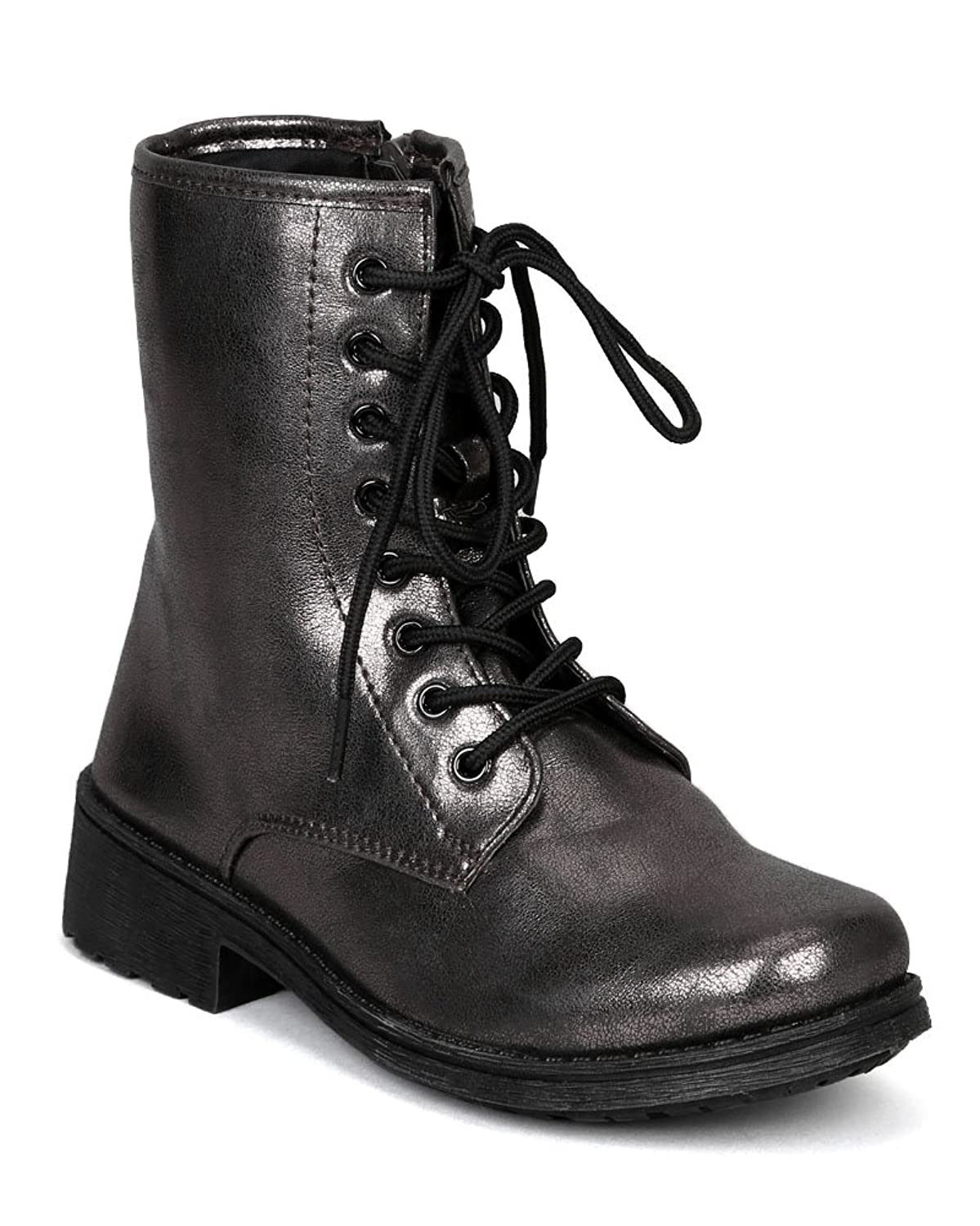Missile-04 New Lace Up Round Toe Combat Boot w/ Side Zipper - Pewter Metallic