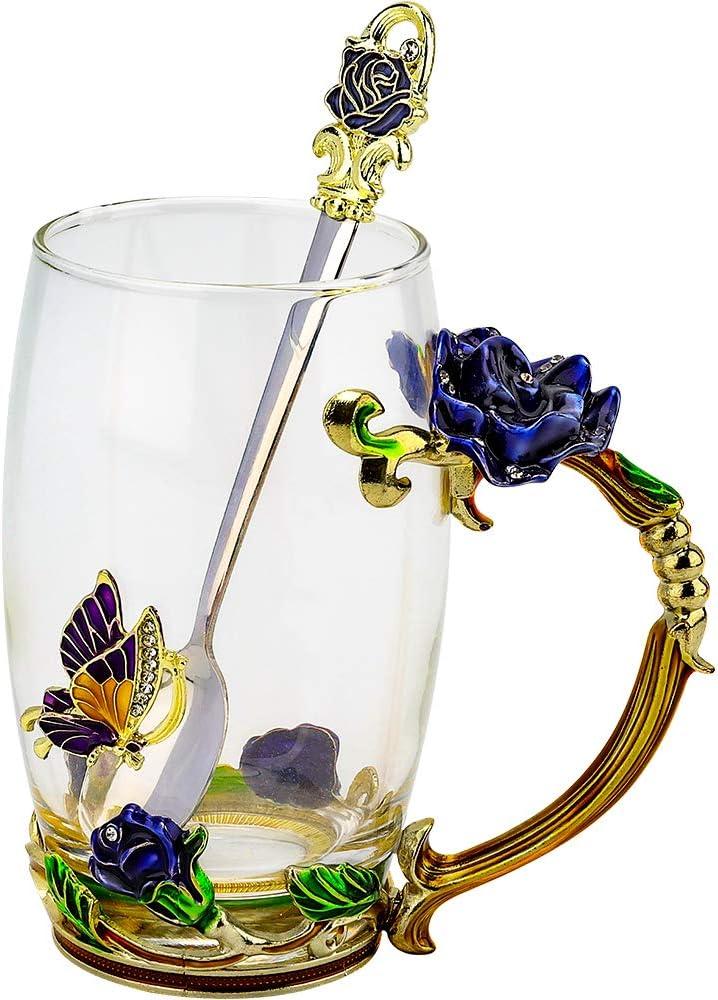 COAWG Regalo de Navidad Taza de Té Vaso de Flores de Vidrio Taza de Té Café Maestro Amigo Cumpleaños Regalo de San Valentín para Mujeres y Hombres (Azul con cucharilla)-1Pc